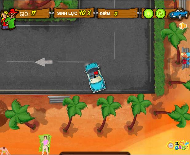choi game đỗ xe bãi biển