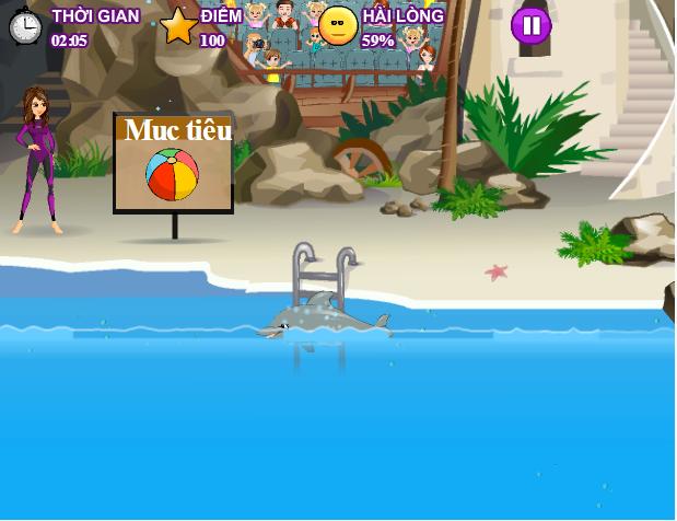 choi game xiếc cá heo