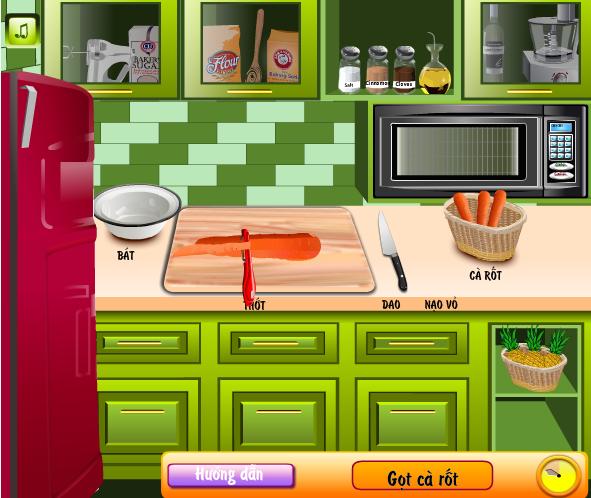 choi game làm bánh cà rốt