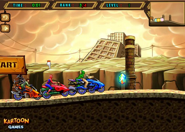 game người nhện đua xe may