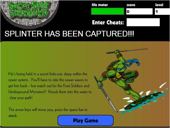 chơi game Ninja rùa lướt sóng