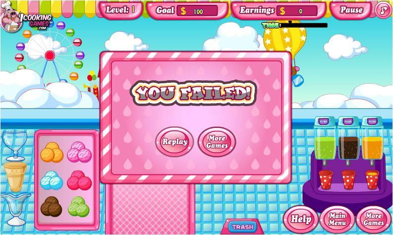 chơi game cửa hàng kem ly