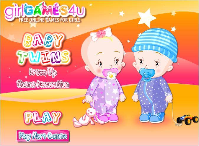 chơi game em bé sinh đôi